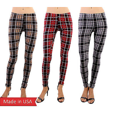 Tartan Plaid Check Red Gray Beige Preppy Print Winter Leggings Tight Pants USA