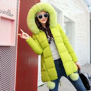 6ac00a88dc8f9 Women s Add Thick Fur Collar Hooded Warm Jacket Long Down Blend ...