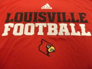 new arrival 523e5 1b07a Details about Red Adidas Climalite Louisville Cardinals Football Shirt 3XL