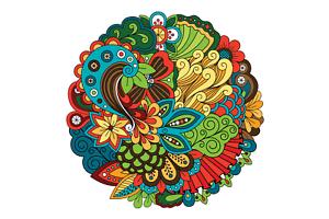 Etiqueta del vinilo de pavo REAL MANDALA