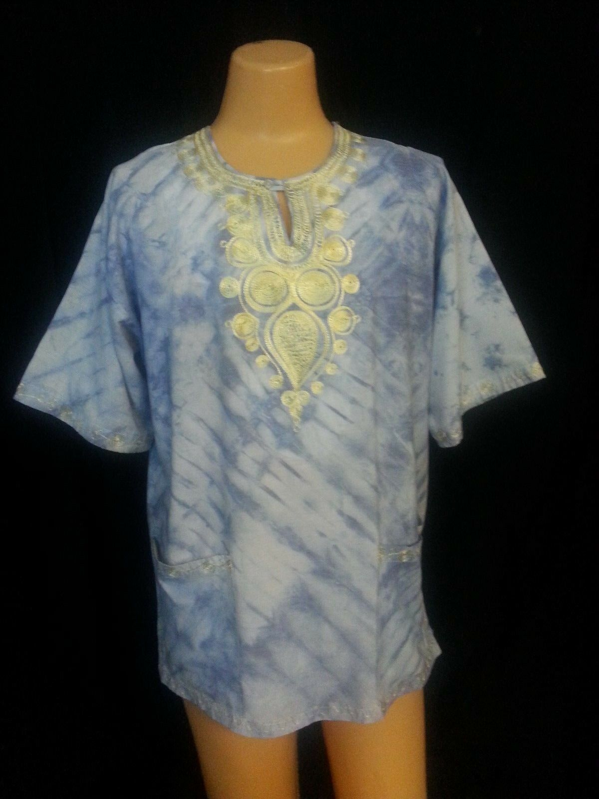 VTG GALA Dashiki Top Shirt bluee WhiteTie-Dye Embroidery Tribal Hippie  L- to XL