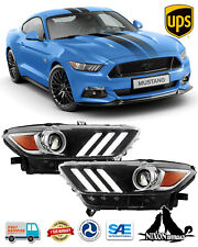 For 2015 2016 2017 Ford Mustang Headlights Projector Headlamps Hid Xenon Led Drl Fits Mustang