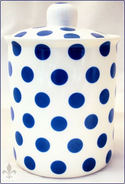 Blue Spots Canister Bone China Blue Lidded Storage Jar Hand Decorated UK