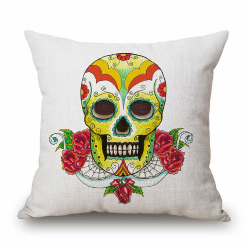 Mexican Indiana Decorative Sugar Skull Art Throw Pillow Case Cushion Cover Sham