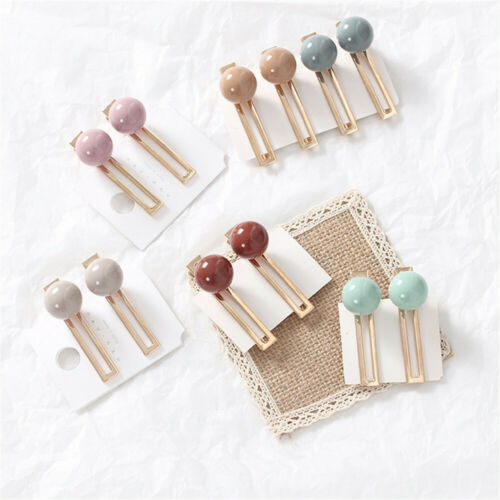 Women Girls Metal Acrylic Ball Hairpins Hair Clips Candy Color Hairpins Barrette