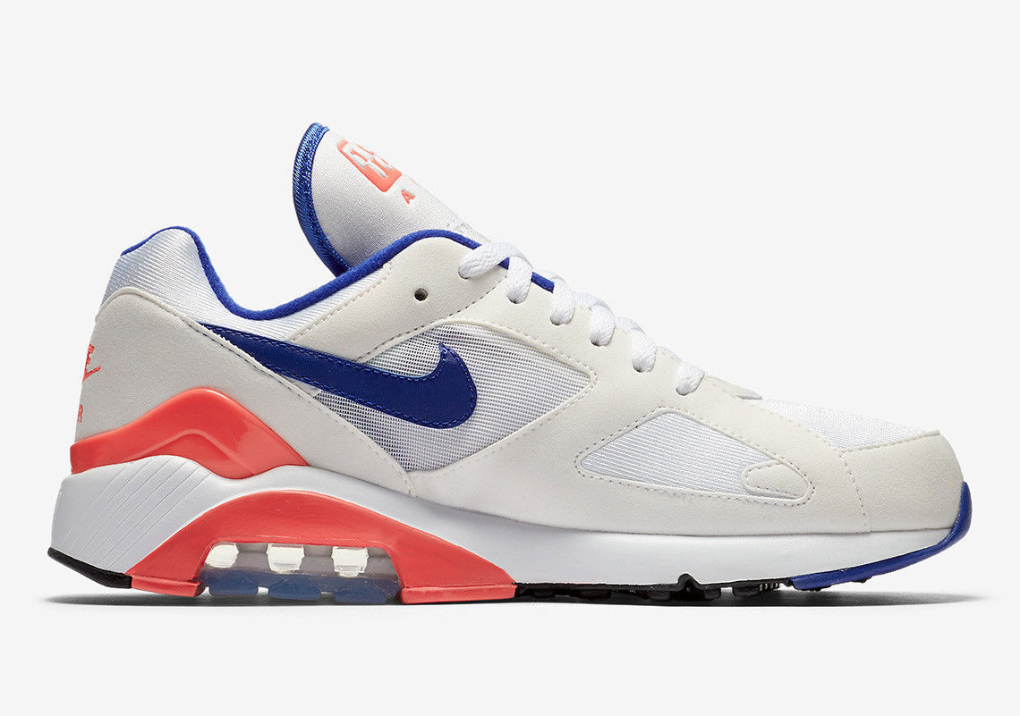 2018 Nike Air Max 180 OG Sz 13 White Ultramarine Solar Red Blue 615287-100 New