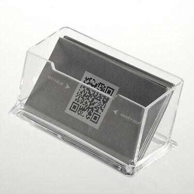 Business Card Holder Display Stand Tidy Plastic Desk Shelf Clear Desktop