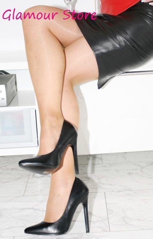 Sexy Scarpe Decolte' Tacco Opaco Spillo 13 cm Nero Opaco Tacco n. 37 Fashion GLAMOUR b10540