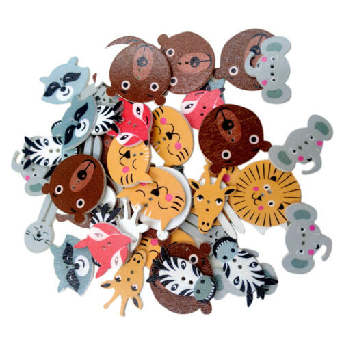 50pcs Colorful Animals 2 Holes Buttons Flatback for Scrapbooking DIY Crafts