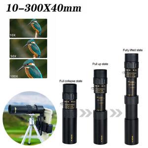 4K-10-300X40mm-Super-Telephoto-Zoom-Monocular-Telescope-Tripod-amp-Clip-Set