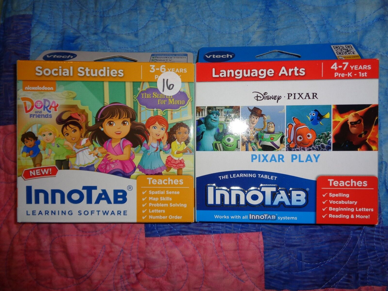 Lot 2 VTECH INNOTAB GAME CARTRIDGES Dora and Friends Search for Mono Pixar Play