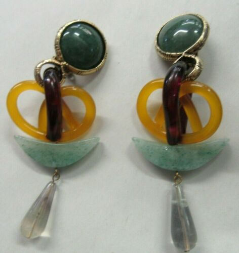 Fabulous Vintage Jade Dangle Clip On Earrings