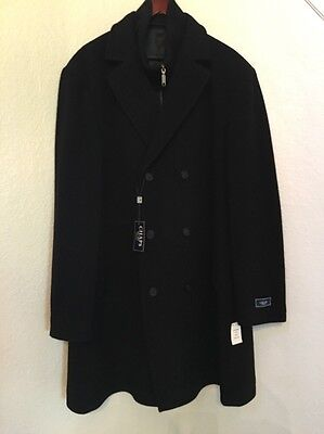 NWTCHAPS Mens Wool Black Trench Coat w//built-in zipper for Turtleneck48L