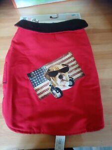 Manteau pour chien rouge motif bulldog polaire 35 cm traité impermeable neuf