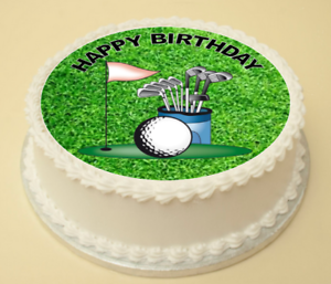 Awesome Golf Happy Birthday Cake Cupcake Topper Decoration Wafer Paper Birthday Cards Printable Trancafe Filternl