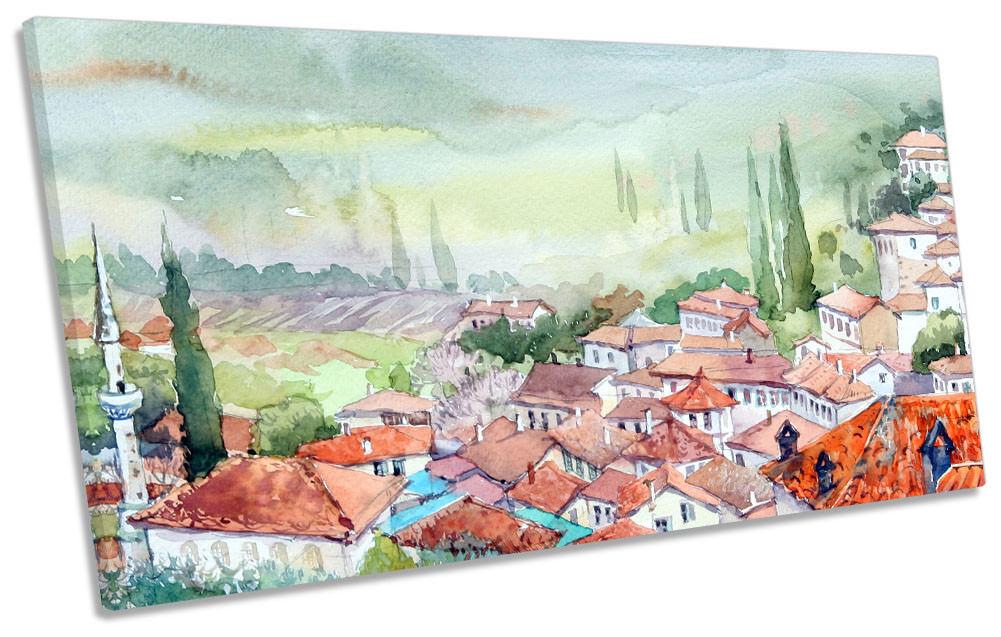 Mediterranean Village Landscape Framed PANORAMIC CANVAS Drucken Wand Kunst