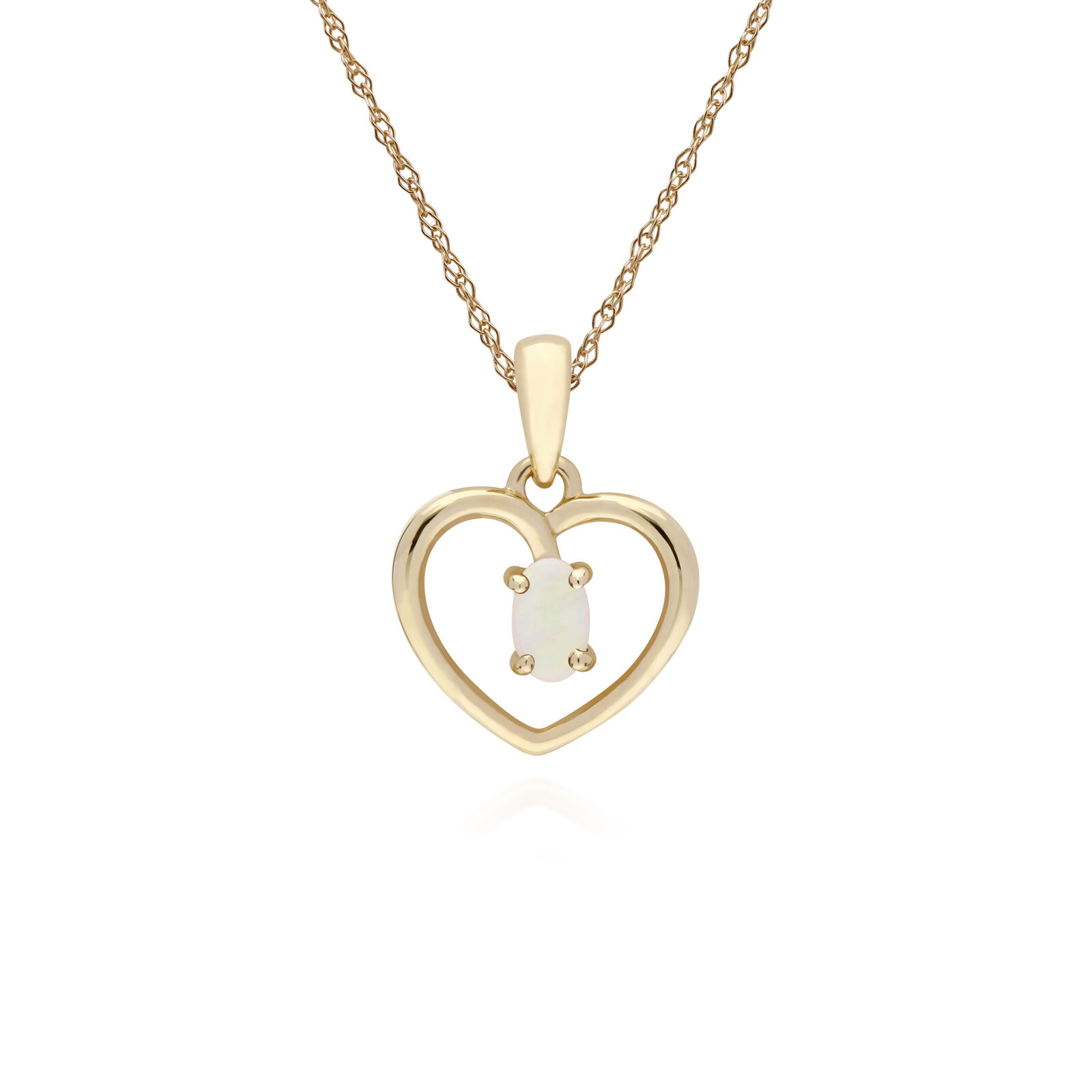 Gemondo 9ct Yellow gold Opal Oval Single Stone Heart Pendant on 45cm Chain