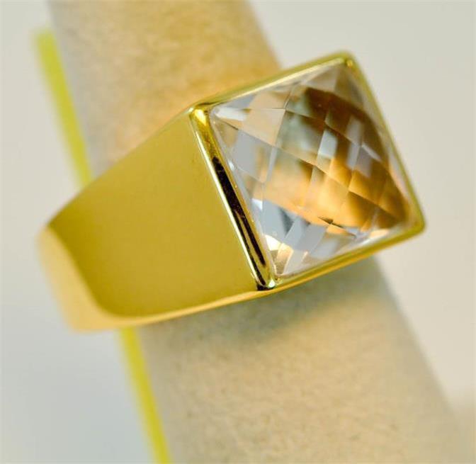 CRYSTAL QUARTZ APRIL BIRTHSTONE 18K gold VERMEIL MENS RING  r0228 C2121