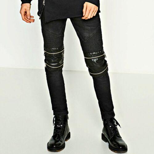 ZARA Black Zipped Biker Jeans Denims With Details Man Cotton Authentic 4164//412