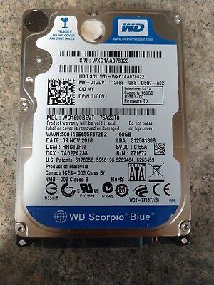 """Western Digital 160GB 5400RPM SATA 2.5/"""" HDD Hard Drive WD1600BEVT-75A23T0 01GDV1"""