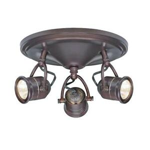 3 light track lighting antique bronze round base pinhole ceiling image is loading 3 light track lighting antique bronze round base aloadofball Image collections