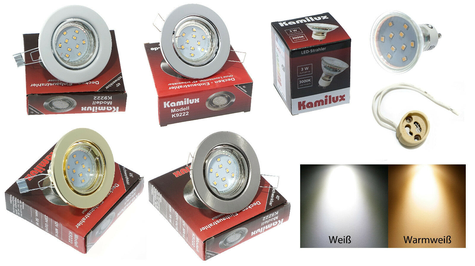 Soffitto LED Lampada da incasso incasso incasso 230v Lia versione gu10 10er SMD 3 Watt  25 Watt 4f111c