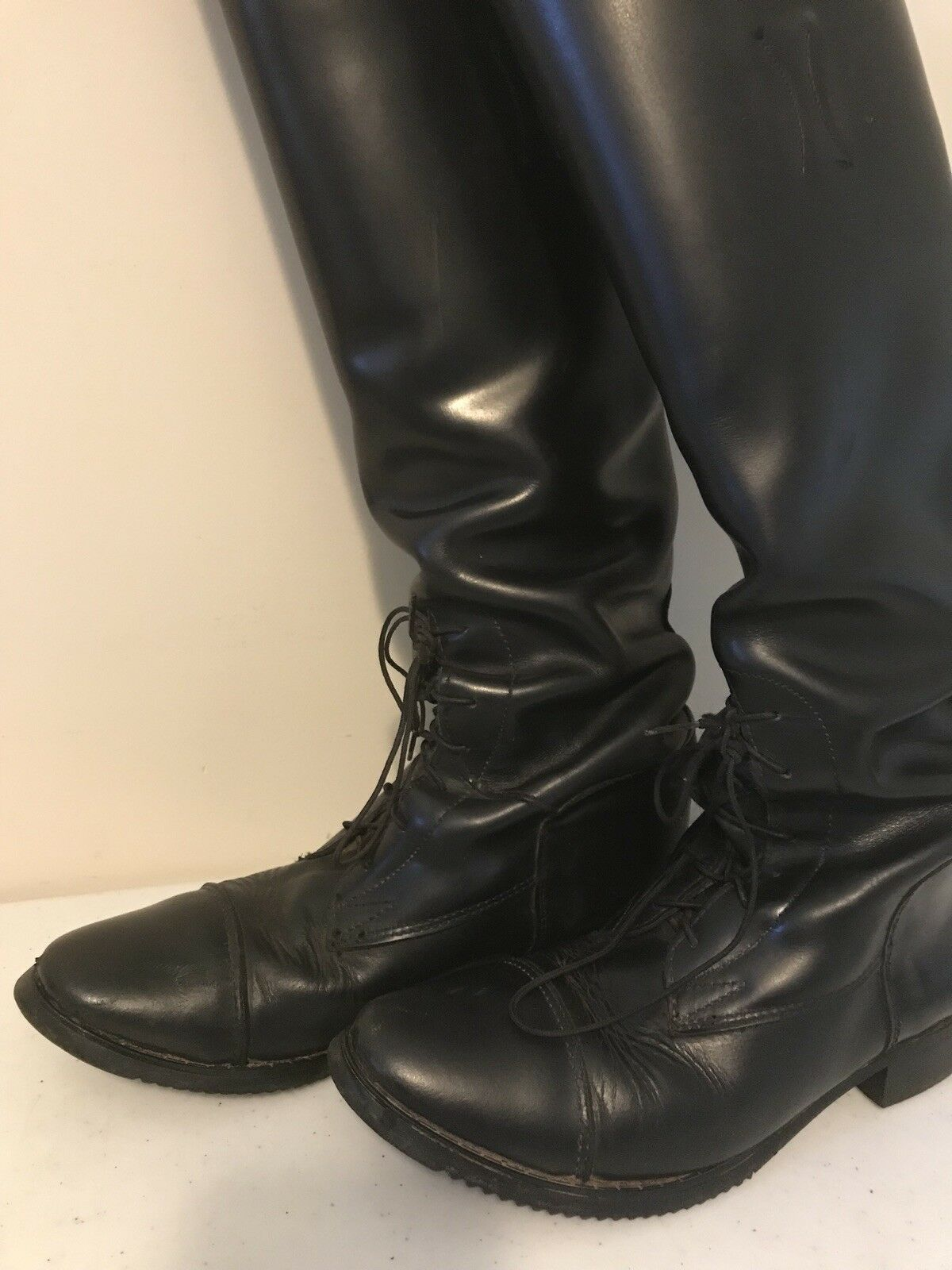 DEVONAIRE donna LEATHER Lace Up FIELD RIDING stivali Dimensione 7.5S L'Cord
