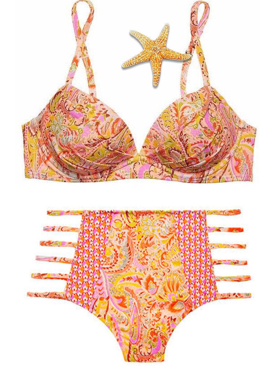 Victoria Secret Congreenible 34C Top strappy High waist Small bikini Warm Paisley