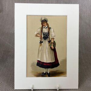 1890-Antico-Vittoriano-Stampa-Moda-Costume-Tradizionale-Svizzera-Folk-Abito