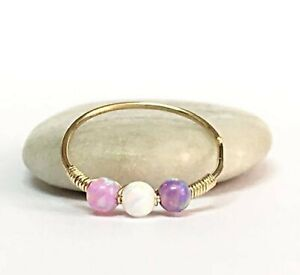 Gift Shopping 14K Rose Gold Filled White Opal Helix Ring,Gold Nose Hoop,Tragus,Conch,Lobe,Daith Ring,16G 18G 20G,October/'s  Birthstone