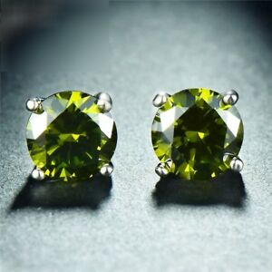 925-Sterling-Silver-Round-Green-Peridot-Solitaire-Stud-Earrings