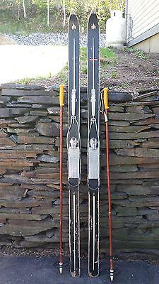 """VINTAGE Wooden Skis 70"""" Long Original Finish ECKEL SKI FREE Bindings + Poles"""