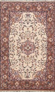 Floral Ardakan Ivory Hand-knotted Traditional Oriental Area Rug Wool Carpet 4x6