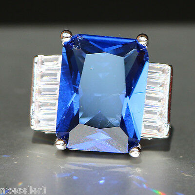 Fashion Blue Sapphire  Birthstone 925 Silver Filled Wedding Bridal Ring No.528