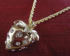 NWT Kenneth Jay Lane REDUCED Gold Strawberry Pendant Necklace Crystal 22Plate