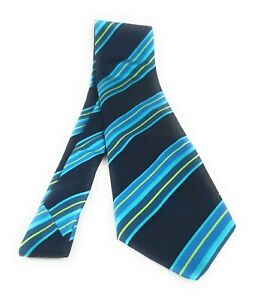 DOLCEPUNTA-Tie-Dark-Blue-Teal-Striped-Italian-Silk-Necktie