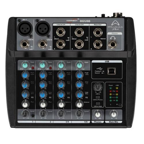 Studio Recording Karaoke Live WHARFEDALE PRO Connect 802 USB Mischpult Mixer f