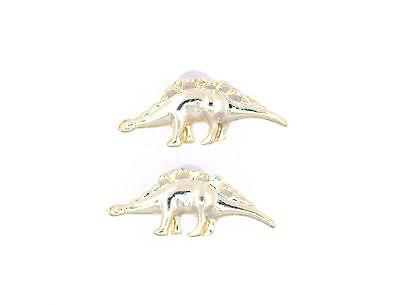 Super cute gold tone dino dinosaur Silvisaur stud earrings
