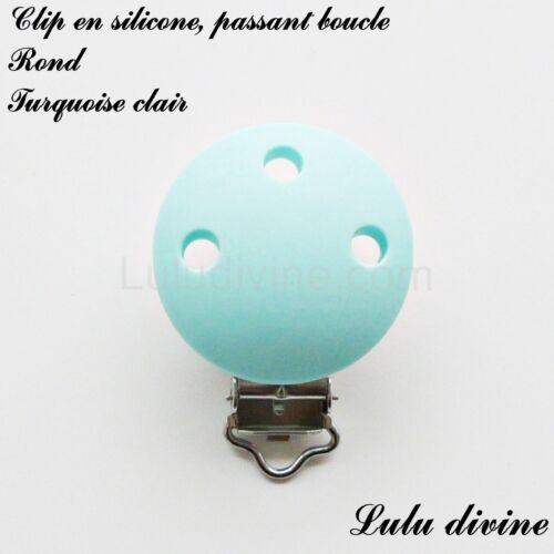 Rond : Turquoise clair passant boucle Pince // Clip en silicone attache tétine