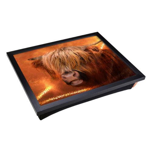 Highland Cow 1 x Lap Tray Table Bean Bag Padded Cushion Laptop Desk TV