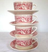 Lot/8~MEMORY LANE Ironstone Cups & Saucers~ROYAL CHINA~Sebring Ohio~pink white