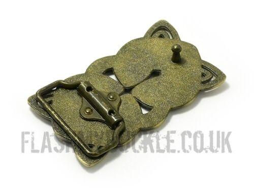 Steampunk Belt Buckle Celtic Style Fits Snap on Belt Bronze//Black Interlace