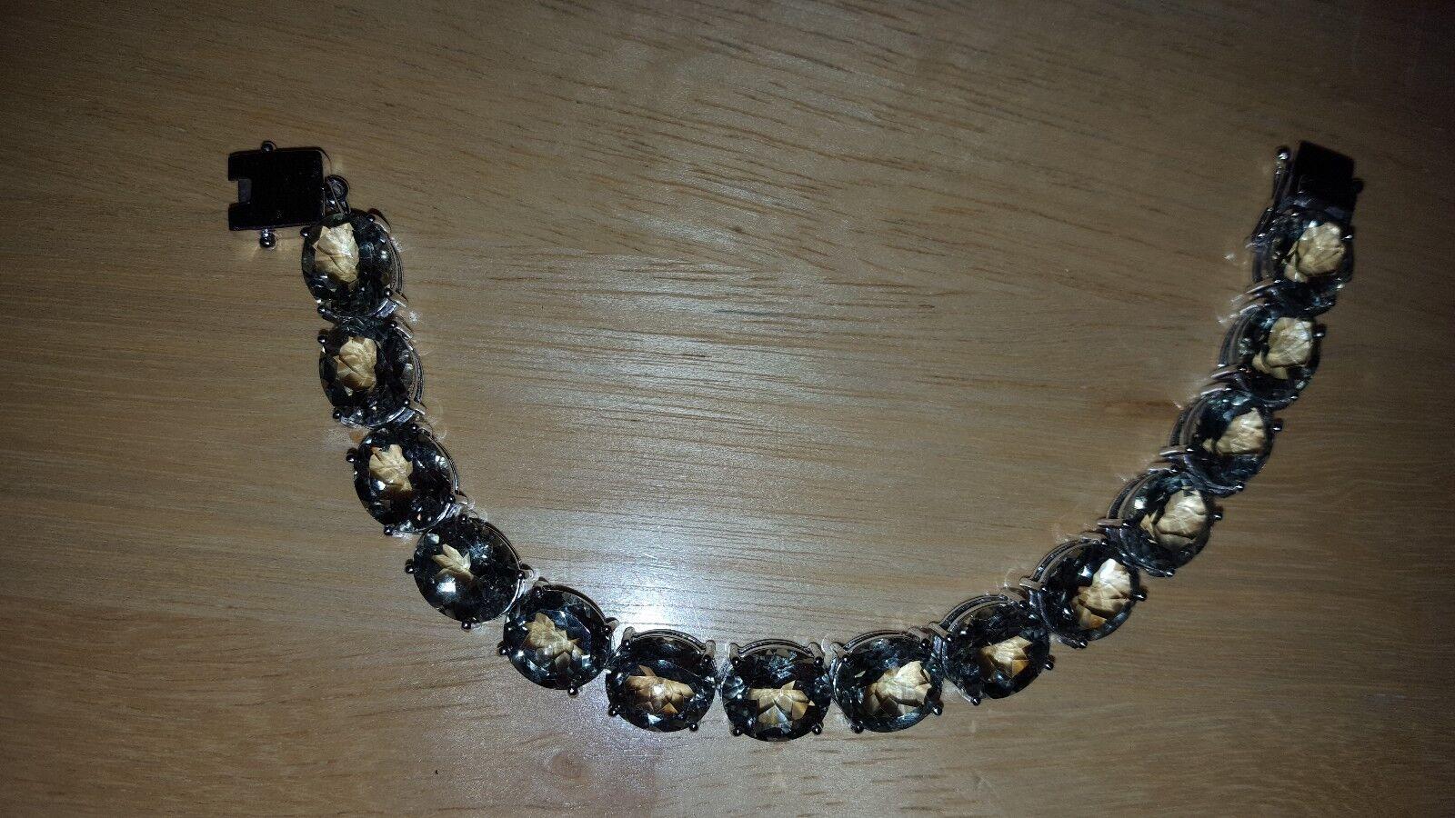 Genuine Prasiolite Tennis Bracelet in Rhodium sterling (6.5)