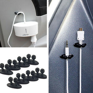 8Pcs-Car-Charger-Line-Headphone-USB-Cable-black-Car-Clip-Interior-Accessories