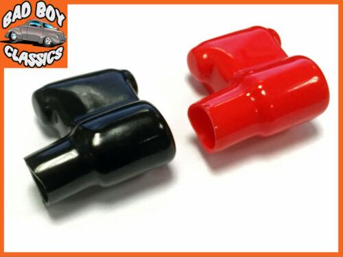 Negro Coche Par de terminal de la batería cubiertas protectoras Rojo Marina Furgoneta