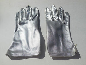 DESIGNER-LADIES-SILVER-NYLON-GLOVES-UNLINED-SIZE-MEDIUM