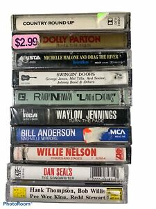 Country-Music-Cassettes-Lot-of-10-SEALED-Waylon-Willie-Dolly-Bill-Anderson-LT1