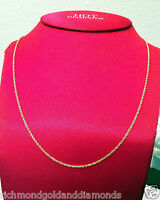 Brand Mens Womens 14k Yellow Gold Necklace Solid Rope Chain 1mm 20 Inch 20