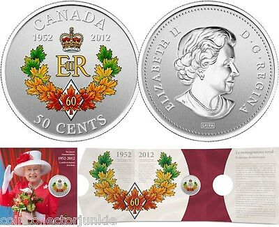 1952-2012 The Queen/'s Diamond Jubilee Commemorative Canada 50 Cent Coin RCM