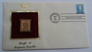 1997-Benjamin-Franklin-First-Day-Issue-Pacific-97-22KT-Gold